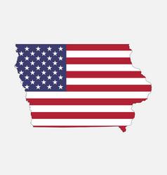 iowa map on american flag vector image