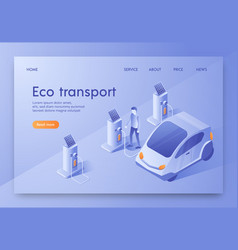 is written eco transport isometric flat banner vector image