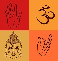 Isolated icons or seamless pattern of buddhism vector