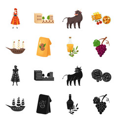 Isolated object and historic logo set and vector