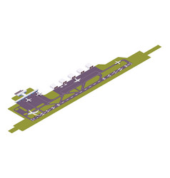 Isometric airport runway with take-off vector