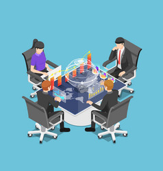 Isometric group businesspeople meeting and vector