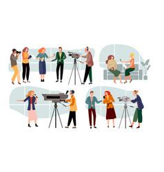 Journalist interviews cartoon vector