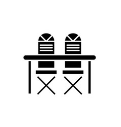 kitchen table and chairs black icon sign vector image