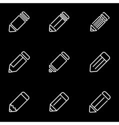Line pencil icon set vector