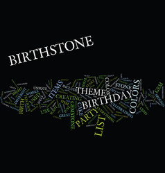 List of birthstone colors text background word vector