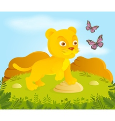 Little cortoon lion with butterflies vector image