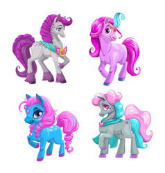 Little cute cartoon pony princess set vector