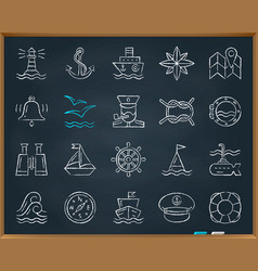 Marine chalk draw line icons set vector