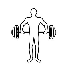 Monochrome contour of man weightlifting vector