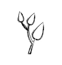 Monochrome sketch of tree branch with leafs vector