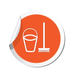 mop and busket ORANGE LABEL vector image