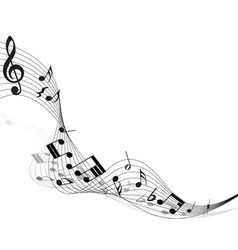 Musical note staff vector image