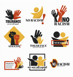No racism and tolerance isolated icons holding vector