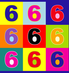 number 6 sign design template element pop vector image