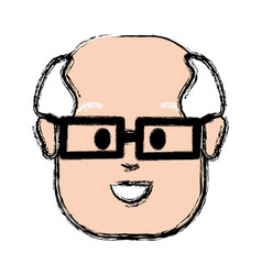 Old face man with glasses vector