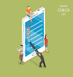 Online check list flat isometric concept vector