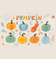 Pumpkin in flat naive simple vector