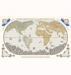Retro old globe with monsters and ships vector