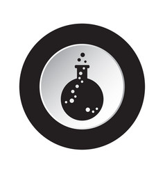round black white button icon - flask with a drop vector image