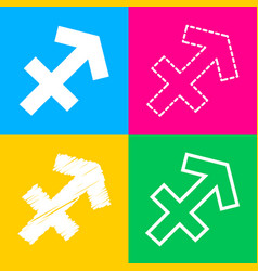 sagittarius sign four styles of icon vector image