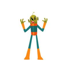 Scary green alien humanoid cartoon character with vector