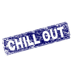 Scratched chill out framed rounded rectangle stamp vector