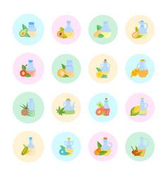 Set flat icons oils vector