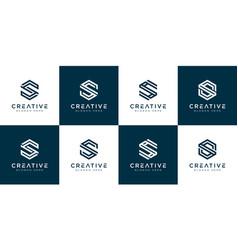 Set initial letter s hexagon logo design vector