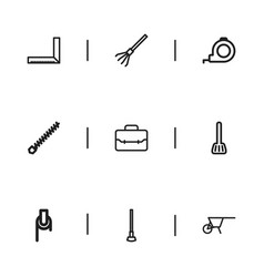 Set of 9 editable equipment icons includes vector