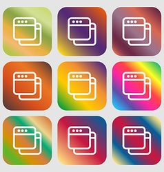 Simple Browser window icon Nine buttons with vector image