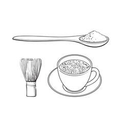 Sketch mathca tea set vector