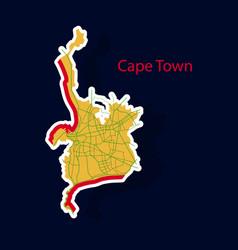 Sticker map of capetown vector