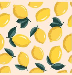 Summer pattern with lemons seamless texture design vector
