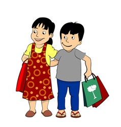 Sweet couple shopping vector image