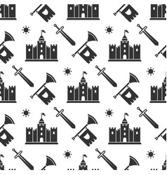 Swords medieval castle seamless pattern design vector