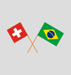 The brazilian and swiss flags vector