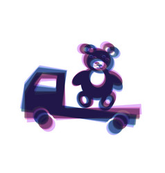 Truck with bear colorful icon shaked with vector