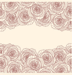 Two linear rose flower borders on white background vector
