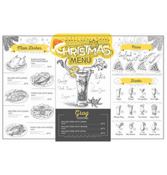 Vintage christmas menu design restaurant menu vector