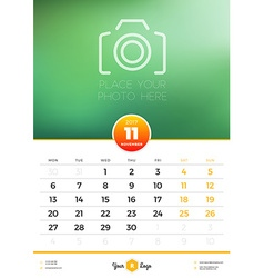 Wall Calendar Template for 2017 Year November vector image