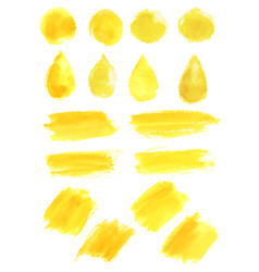 Watercolor yellow blob stains strokes icons vector