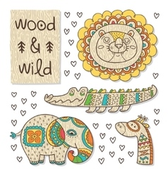 Wood animal figures Eco friendly toys vector