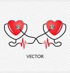 World heart day stethoscope heart cardiogram vector