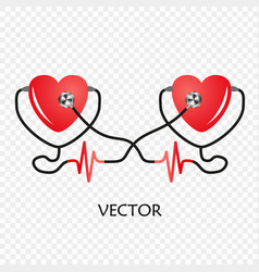 World heart day stethoscope of heart cardiogram vector