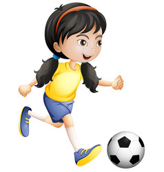 young girl playing soccer vector image