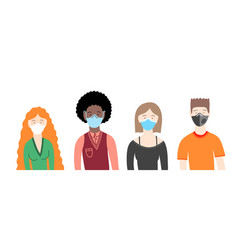 young people in medical masks coronavirus covid19 vector image