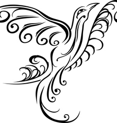 Bird on branch black tattoo stencil vector image