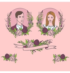 Floral wedding invitation save the date Flower vector image