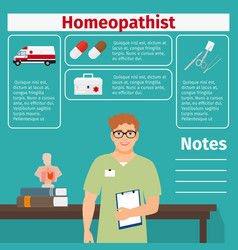 Homeopathist and medical equipment icons vector